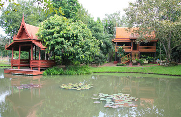 Thailand ancient wooden houses