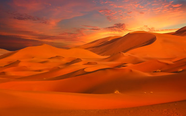 Photo on textile frame Red Stunning sand dunes of Merzouga