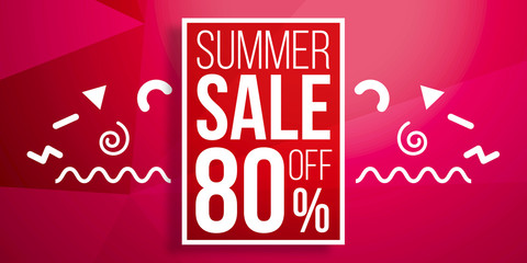 Summer Sale background in retro 80s 90s memphis style.