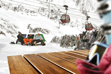 wooden desk and winter ski time