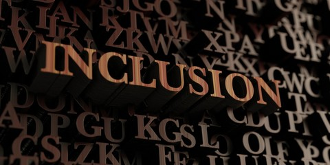 Inclusion - Wooden 3D rendered letters/message.  Can be used for an online banner ad or a print postcard.