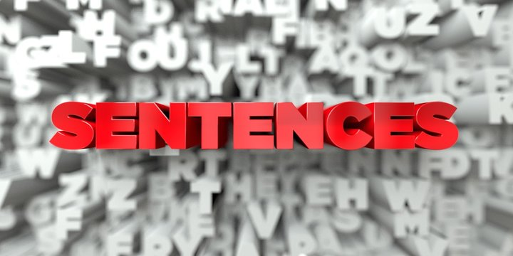 SENTENCES -  Red text on typography background - 3D rendered royalty free stock image. This image can be used for an online website banner ad or a print postcard.