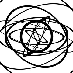 Squiggle, squiggly circles, ovals, lines. Spiral made of random