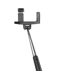 an extendable selfie stick with an adjustable clamp on the end o