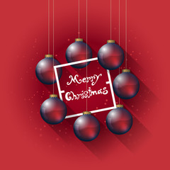 christmas template card with red christmas balls, flat shadow effect