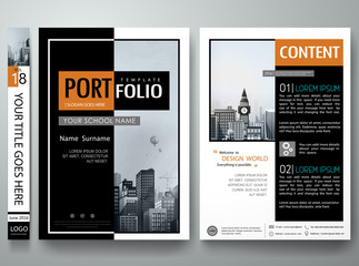 Minimal cover book portfolio presentation layout.Black and white abstract square brochure design report business flyers magazine poster.Portfolio template vector layout.City design on A4 layout. Wall mural