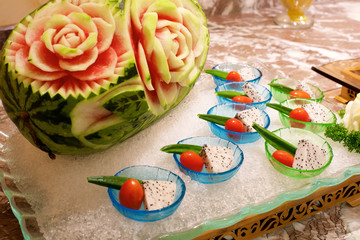 Carved Watermelon in buffet