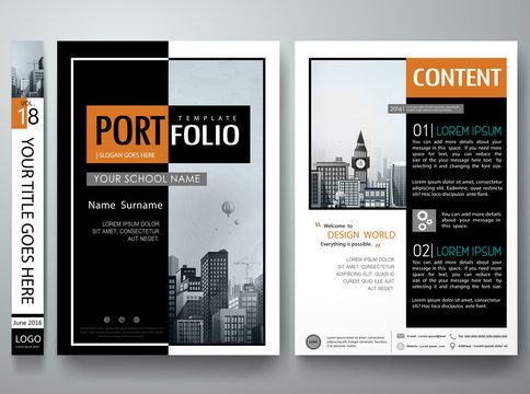 Minimal cover book portfolio presentation layout.Black and white abstract square brochure design report business flyers magazine poster.Portfolio template vector layout.City design on A4 layout.