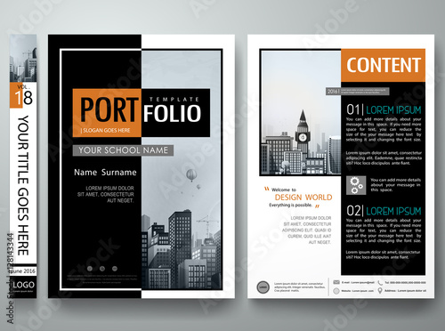 Minimal Cover Book Portfolio Presentation Layout Black And White Abstract Square Brochure Design Report Business