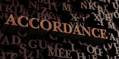 Accordance - Wooden 3D rendered letters/message.  Can be used for an online banner ad or a print postcard.