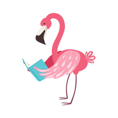 Pink Flamingo Smiling Bookworm Zoo Character Wearing Glasses And Reading A Book Cartoon Illustration Part Of Animals In Library Collection