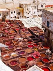 Lederfärberei in Marrakesch/Marokko