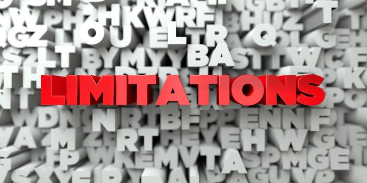 LIMITATIONS -  Red text on typography background - 3D rendered royalty free stock image. This image can be used for an online website banner ad or a print postcard.