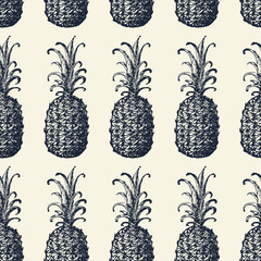 Seamless pattern with black pineapples on varicolored checkered background