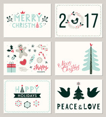 Winter Holidays greeting cards. Merry Christmas, Happy Holidays and Peace and Love. Vector illustration.