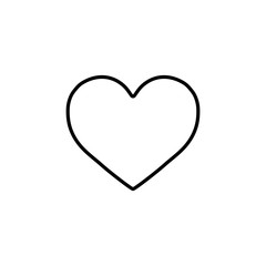 heart love romantic outline line icon black on white