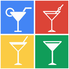 Cocktail icon set.
