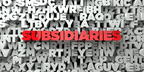 SUBSIDIARIES -  Red text on typography background - 3D rendered royalty free stock image. This image can be used for an online website banner ad or a print postcard.