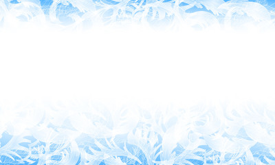 Vector frost glass pattern. Winter blue background.