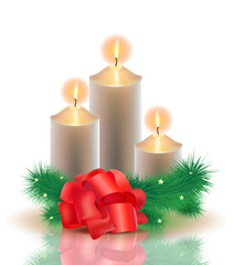 Vector realistic illustration. 3 burning golden Christmas candles with  tree and bow tie on white background