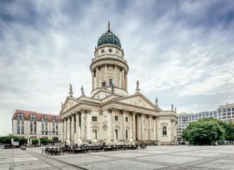 View on German Cathedral on Gendarmenmarkt in Berlin, Germany, Europe, Vintage filtered style