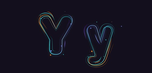 3d rendering colorful strokes and particles typeface illustration on dark background y