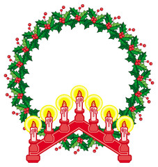 Round frame in shape of wreath with holly berry and light candle arch.