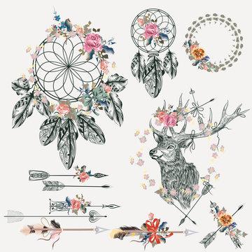 Boho elements collection. Deer, arrows, dreamcatcher, feathers a