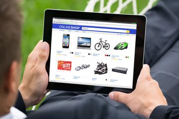 Businessman Doing Online Shopping On Digital Tablet