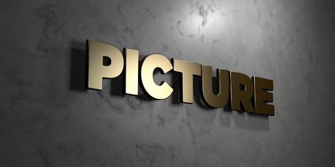 Picture - Gold sign mounted on glossy marble wall  - 3D rendered royalty free stock illustration. This image can be used for an online website banner ad or a print postcard.