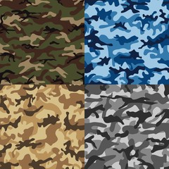 Camouflage set seamless pattern in multiple colors.