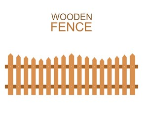 Wooden farm boards fence wood silhouette construction in flat style