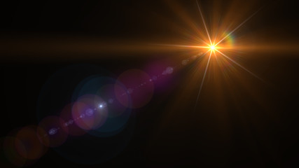 abstract lens flare yellow light over black background