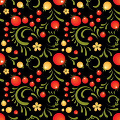 Red Currant floral pattern in Khokhloma style