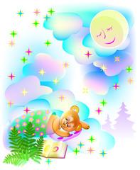 Illustration of teddy bear sleeping and dreaming at night, vector cartoon image.
