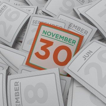 3d rendering random calendar pages november 30