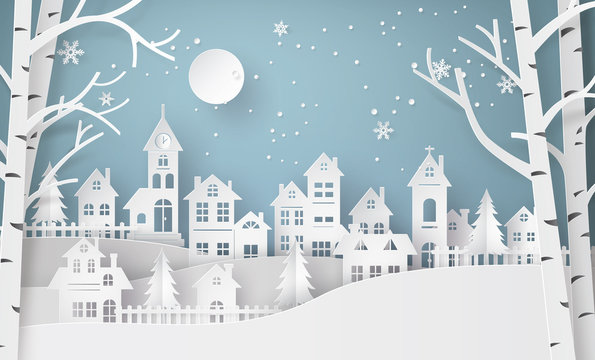 Winter Snow Urban Countryside Landscape City Village with ful lm