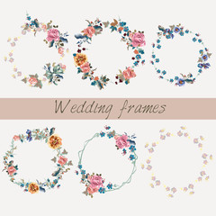 Set of wedding floral frames in watercolor style for design