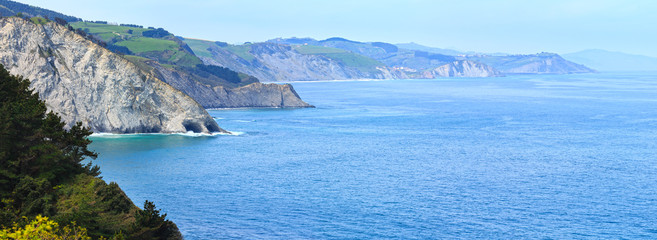 Poster Cote Atlantic Ocean coastline, Biscay Bay, Spain.