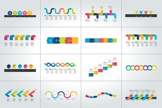 Mega set of timeline infographic templates, diagrams,  presentations.