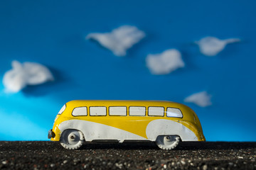 Toy car, yellow bus