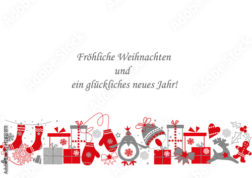 weihnachtskarte mit weihnachtlichen gr ssen stockfotos. Black Bedroom Furniture Sets. Home Design Ideas
