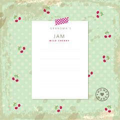 Jam recipe template. Design element.