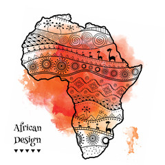 Textured vector map of Africa. Hand-drawn ethno pattern, tribal background. Vector illustration. Abstract Background with Watercolor Stains