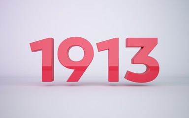 3d rendering year 1913  on clean white background