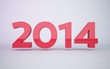 3d rendering red year 2014 on white background