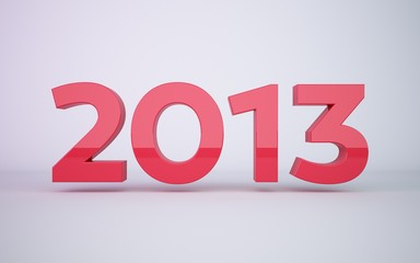 3d rendering red year 2013 on white background