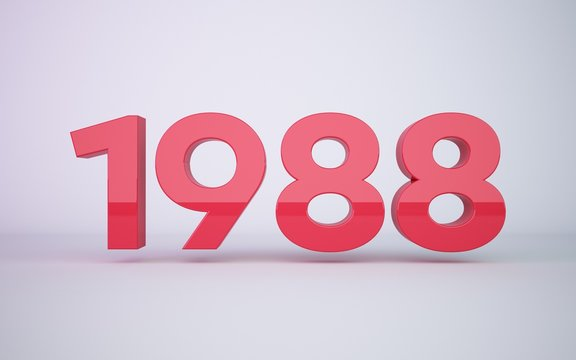 3d rendering red year 1988 on white background