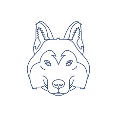 Husky or wolf head icon. Flat line illustration.
