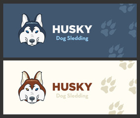 Husky head flat logo vector set. Husky dog sledding. Dog footprints on background.
